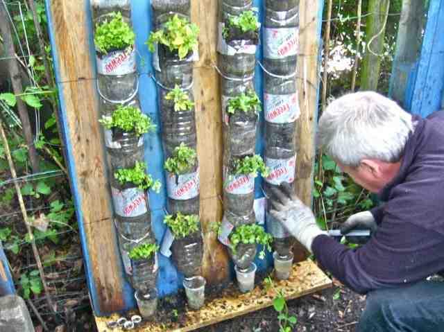 Torres botellas cultivos for Como hacer un jardin vertical con palets
